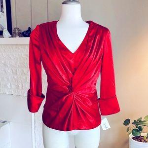 Red Joseph Ribkoff Twist Front Satin Dress Top